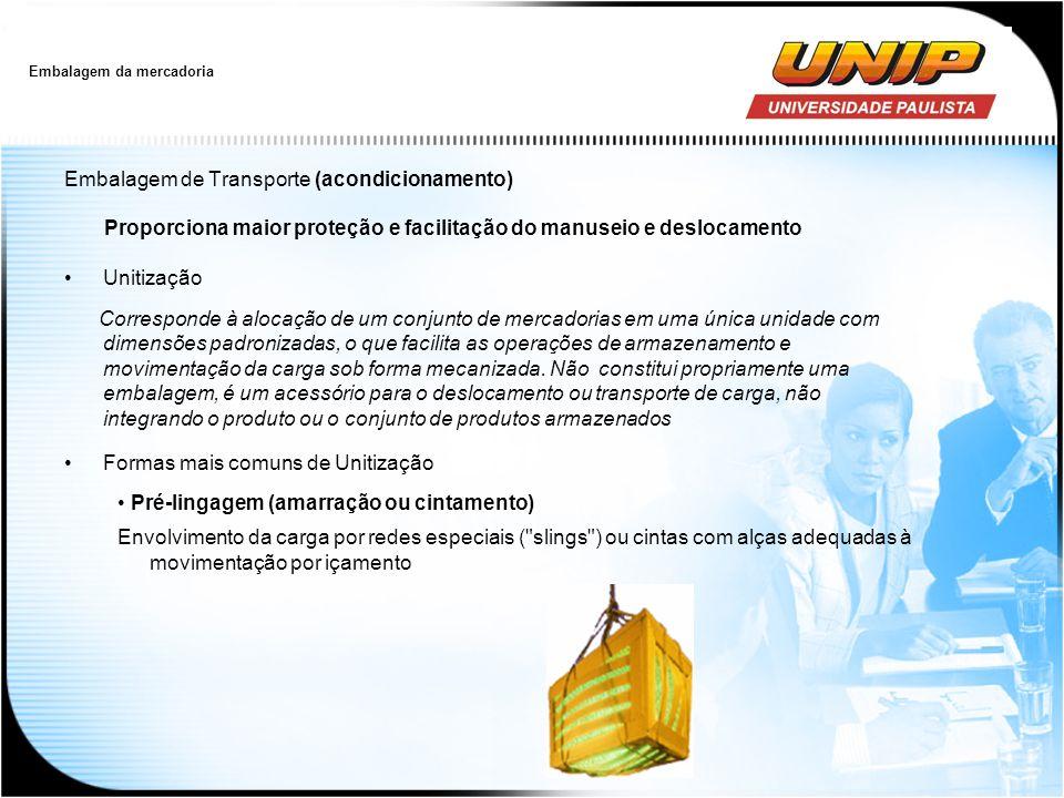 Embalagem da mercadoria Embalagem de Transporte (acondicionamento) Proporciona maior proteção e facilitação do manuseio e deslocamento Unitização Corr