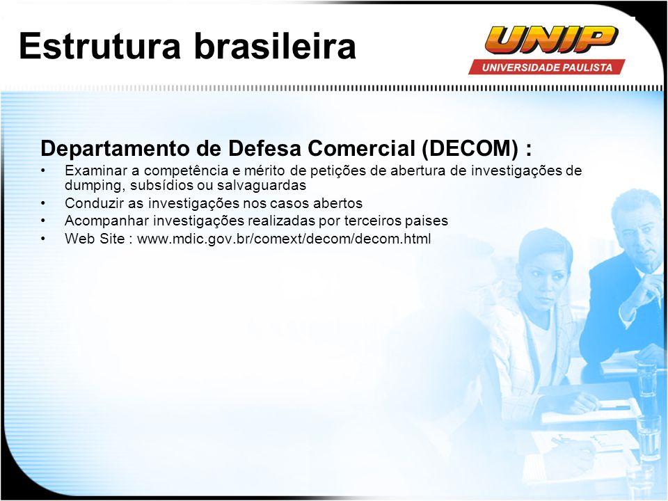 Estrutura brasileira Departamento de Defesa Comercial (DECOM) : Examinar a competência e mérito de petições de abertura de investigações de dumping, s