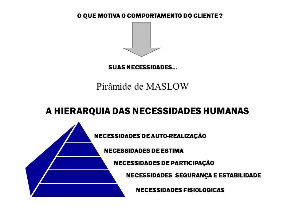O QUE MOTIVA O COMPORTAMENTO DO CLIENTE ? SUAS NECESSIDADES... Pirâmide de MASLOW A HIERARQUIA DAS NECESSIDADES HUMANAS NECESSIDADES FISIOLÓGICAS NECE