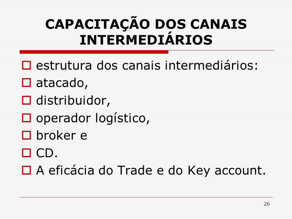 26 CAPACITAÇÃO DOS CANAIS INTERMEDIÁRIOS estrutura dos canais intermediários: atacado, distribuidor, operador logístico, broker e CD. A eficácia do Tr