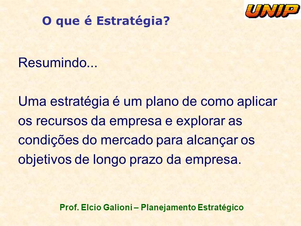 Prof. Elcio Galioni – Planejamento Estratégico O que é Estratégia? Resumindo... Uma estratégia é um plano de como aplicar os recursos da empresa e exp