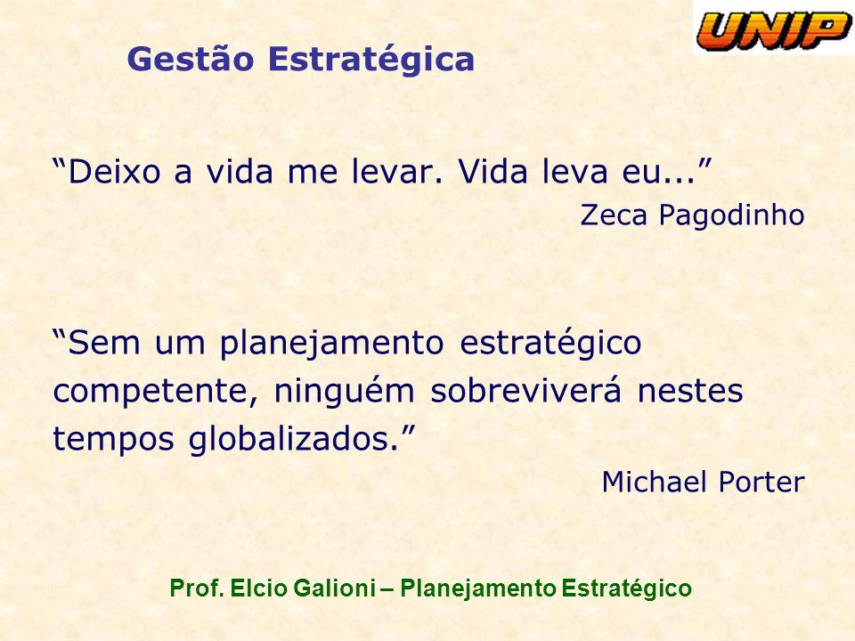Prof. Elcio Galioni – Planejamento Estratégico Gestão Estratégica Deixo a vida me levar. Vida leva eu... Zeca Pagodinho Sem um planejamento estratégic