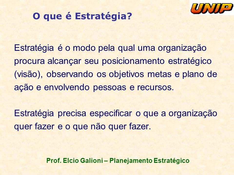Prof. Elcio Galioni – Planejamento Estratégico O que é Estratégia? Estratégia é o modo pela qual uma organização procura alcançar seu posicionamento e