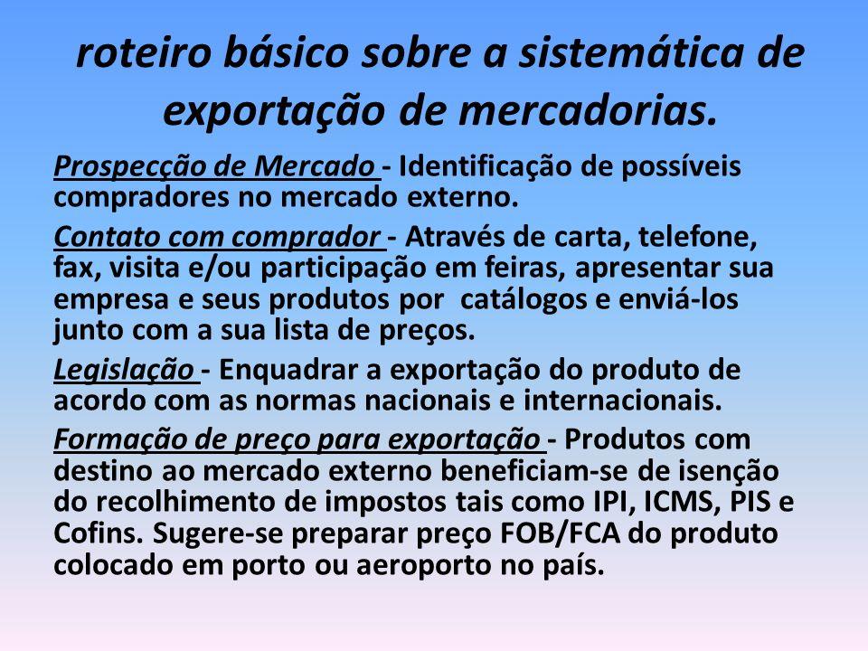 roteiro básico sobre a sistemática de exportação de mercadorias. Prospecção de Mercado - Identificação de possíveis compradores no mercado externo. Co