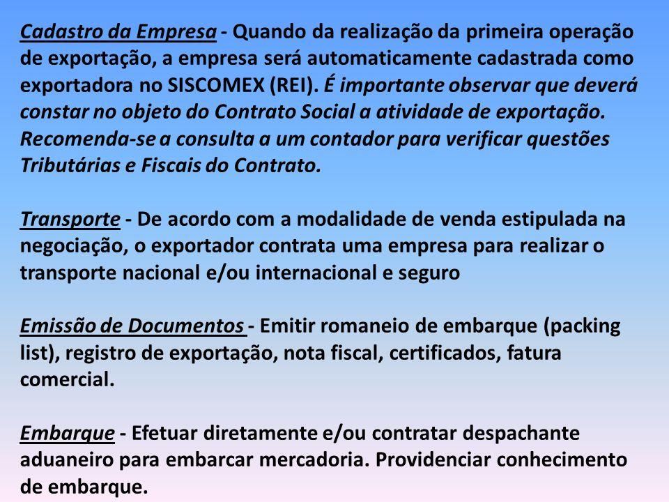 Cadastro da Empresa - Quando da realização da primeira operação de exportação, a empresa será automaticamente cadastrada como exportadora no SISCOMEX