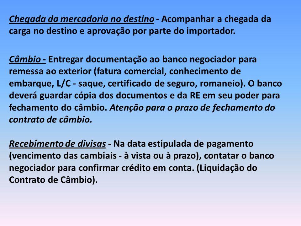 Câmbio - Entregar documentação ao banco negociador para remessa ao exterior (fatura comercial, conhecimento de embarque, L/C - saque, certificado de s