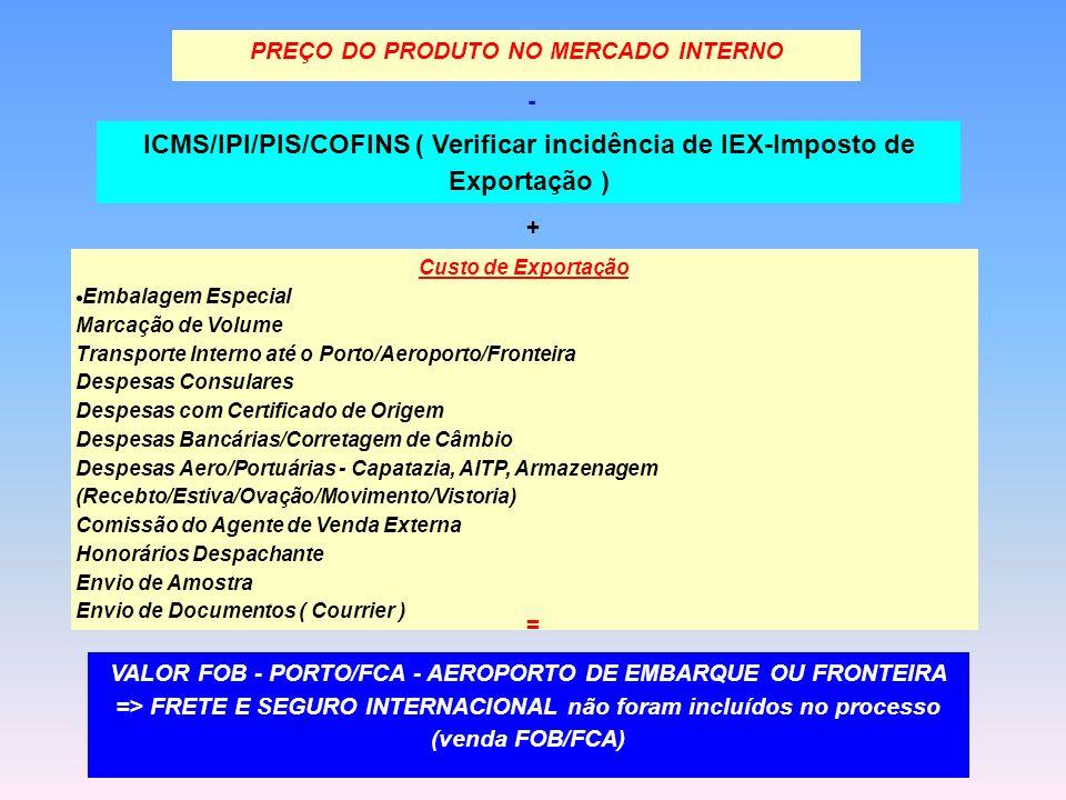 - ICMS/IPI/PIS/COFINS ( Verificar incidência de IEX-Imposto de Exportação ) + Custo de Exportação Embalagem Especial Marcação de Volume Transporte Int