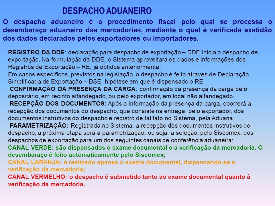 DESPACHO ADUANEIRO O despacho aduaneiro é o procedimento fiscal pelo qual se processa o desembaraço aduaneiro das mercadorias, mediante o qual é verif