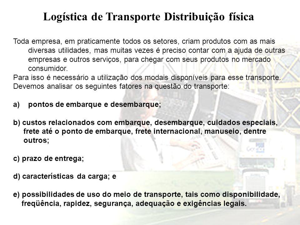 Logística de Transporte Distribuição física Toda empresa, em praticamente todos os setores, criam produtos com as mais diversas utilidades, mas muitas