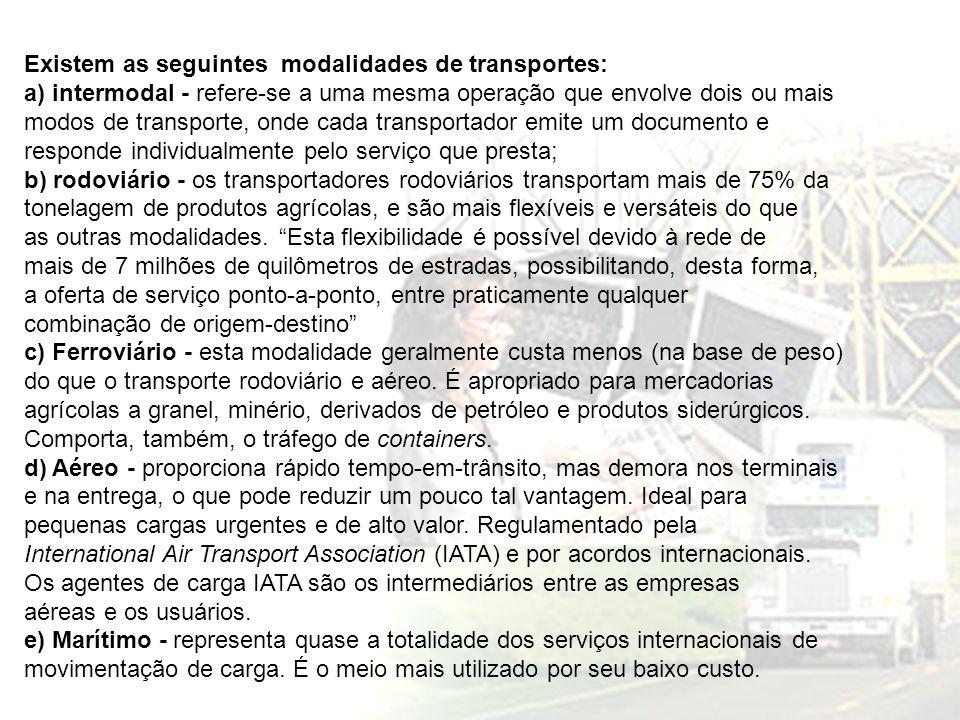 Existem as seguintes modalidades de transportes: a) intermodal - refere-se a uma mesma operação que envolve dois ou mais modos de transporte, onde cad