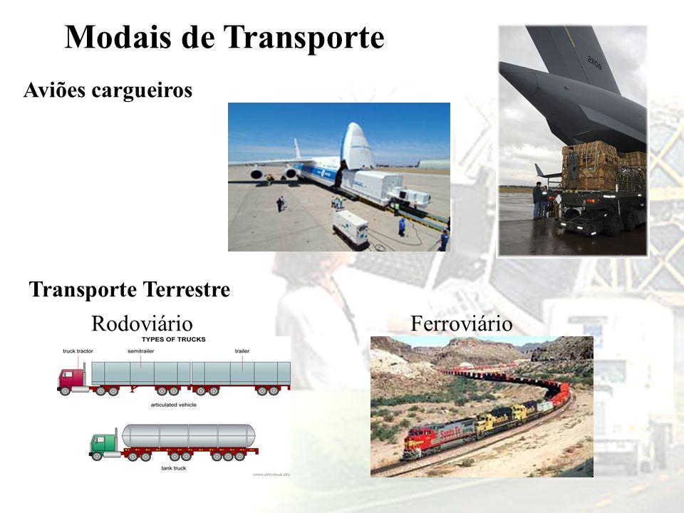 Modais de Transporte Aviões cargueiros Transporte Terrestre RodoviárioFerroviário