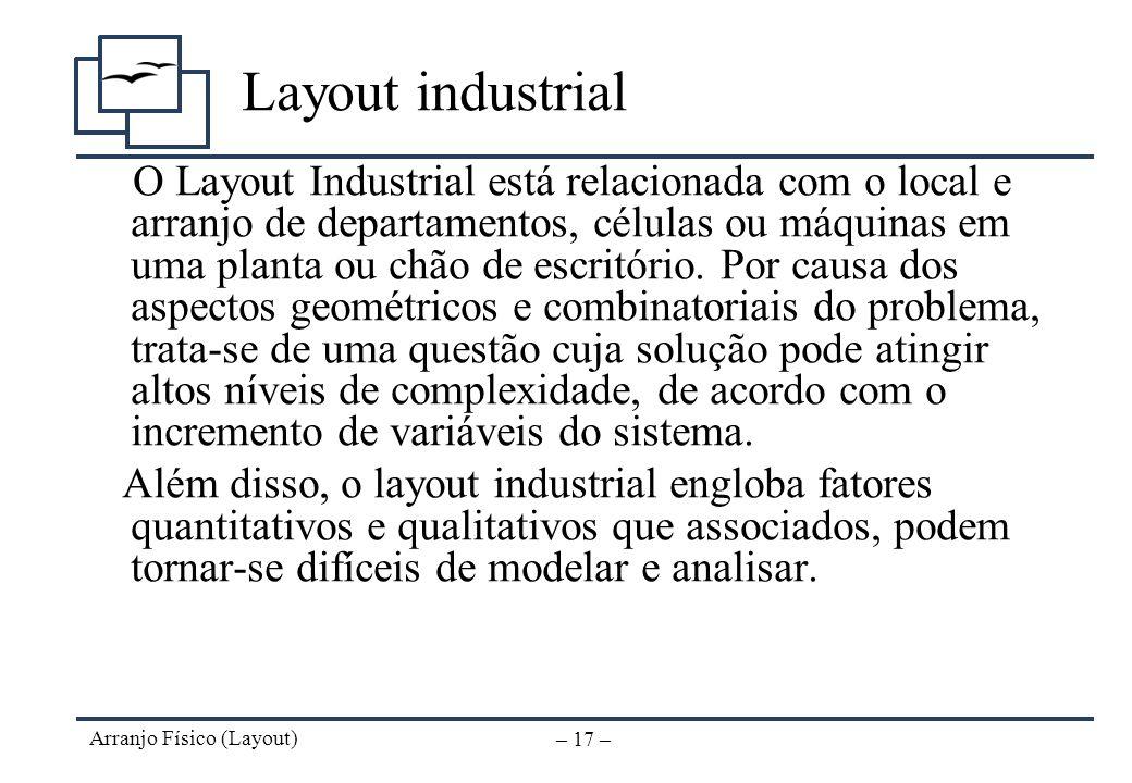 Arranjo Físico (Layout) – 16 – Exemplos de arranjo físico (mesas) (ARAUJO, LUIS C. G. - 2001)