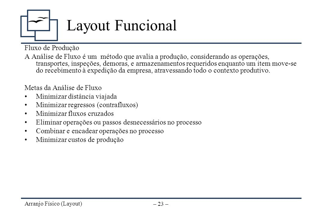 Arranjo Físico (Layout) – 22 – Layout Funcional Fase III - Atividades de Apoio Identifique necessidades de pessoal de apoio (almoxarifado, manutenção,