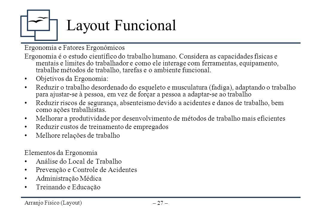 Arranjo Físico (Layout) – 26 – Layout Funcional Análise da Relação de Operacões Se utilizada graficamente, permite visualizar as entradas de matéria-p