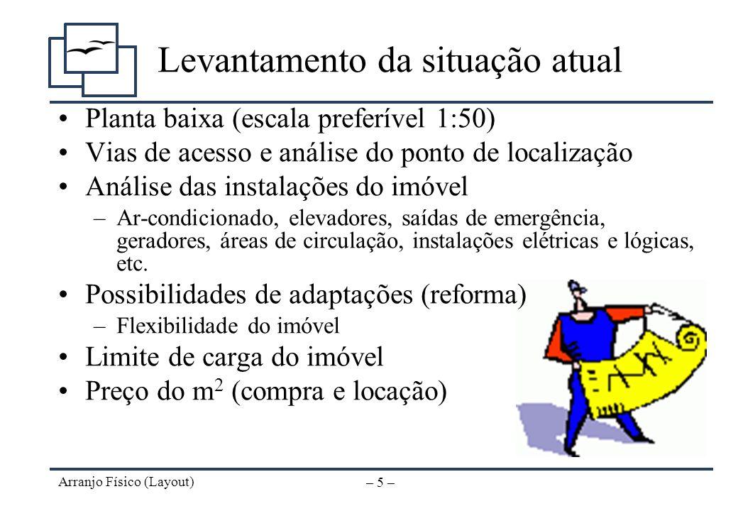 Arranjo Físico (Layout) – 4 – Objetivos Obter um fluxo de informações eficiente Obter um fluxo de trabalho eficiente Otimizar a área disponível Facili