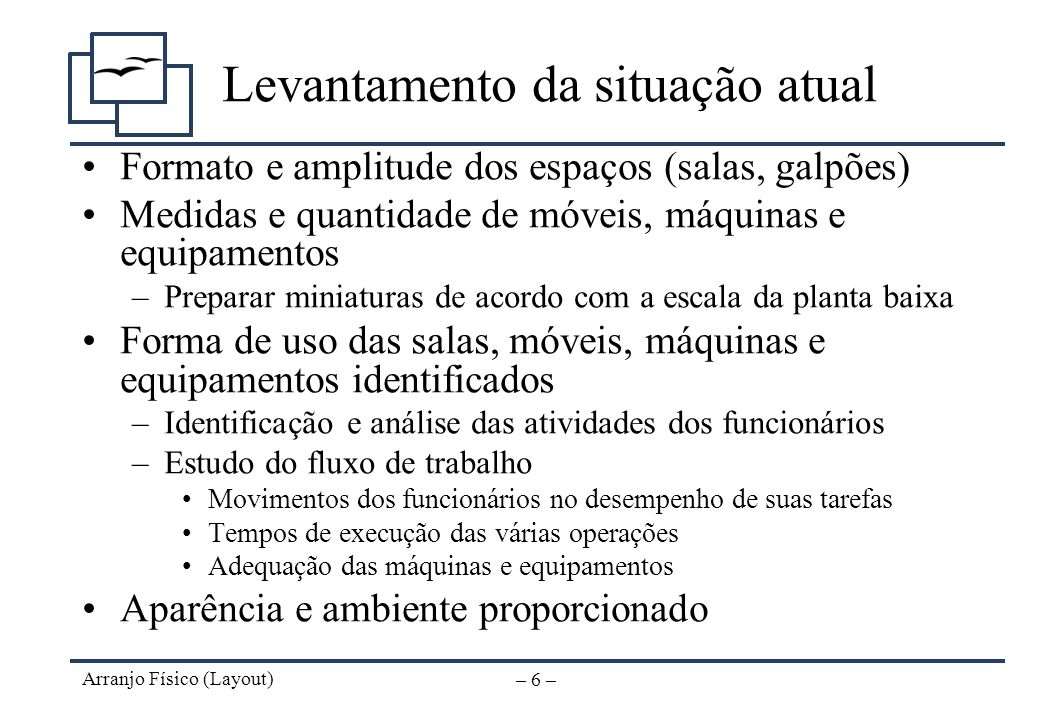 Arranjo Físico (Layout) – 5 – Levantamento da situação atual Planta baixa (escala preferível 1:50) Vias de acesso e análise do ponto de localização An