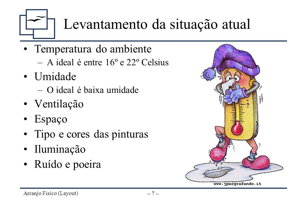 Arranjo Físico (Layout) – 6 – Levantamento da situação atual Formato e amplitude dos espaços (salas, galpões) Medidas e quantidade de móveis, máquinas