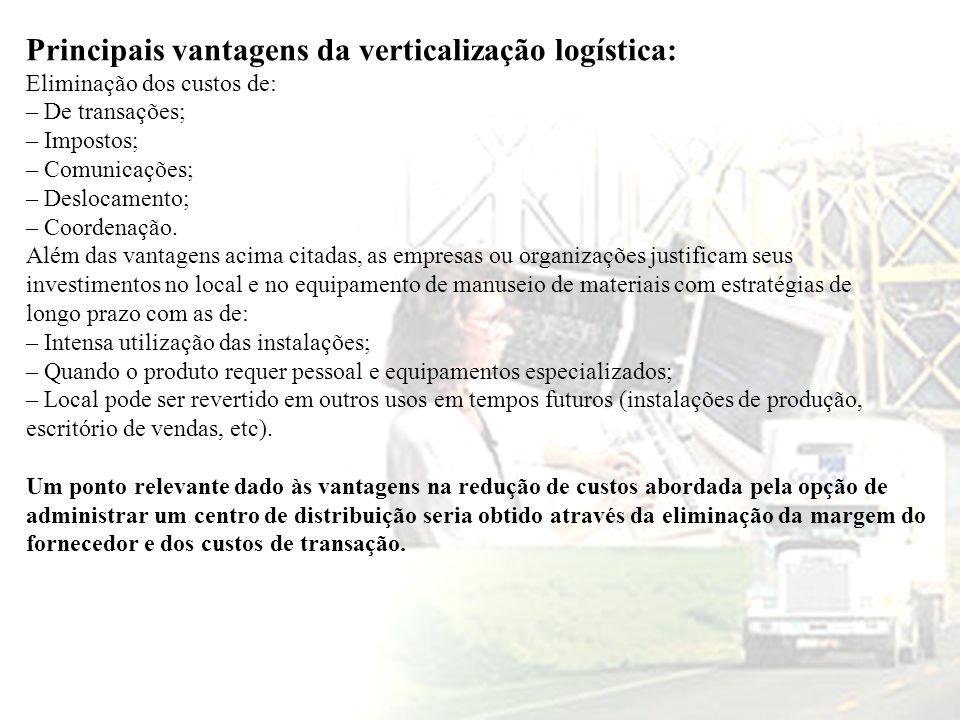 Principais vantagens da verticalização logística: Eliminação dos custos de: – De transações; – Impostos; – Comunicações; – Deslocamento; – Coordenação
