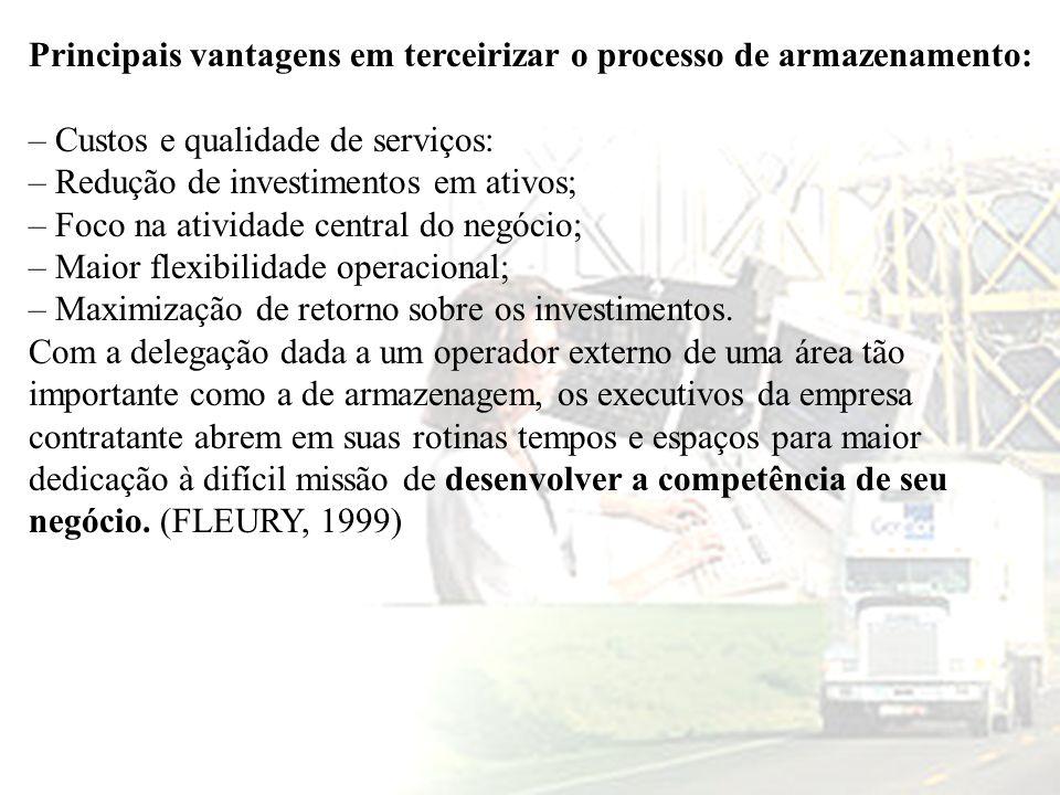 Principais vantagens em terceirizar o processo de armazenamento: – Custos e qualidade de serviços: – Redução de investimentos em ativos; – Foco na ati