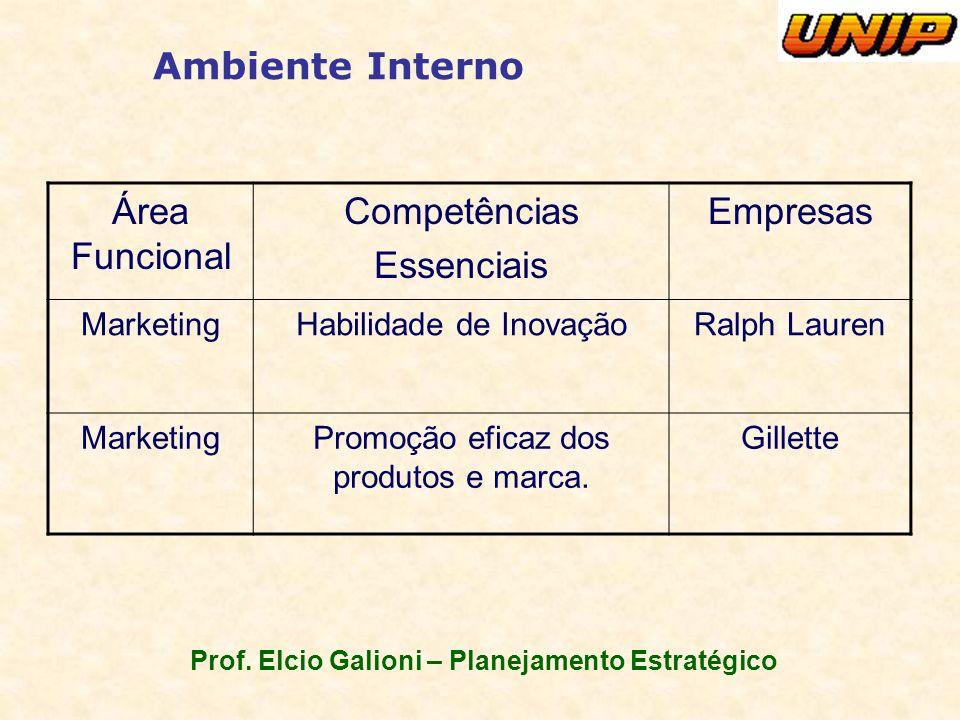 Prof. Elcio Galioni – Planejamento Estratégico Ambiente Interno Área Funcional Competências Essenciais Empresas MarketingHabilidade de InovaçãoRalph L