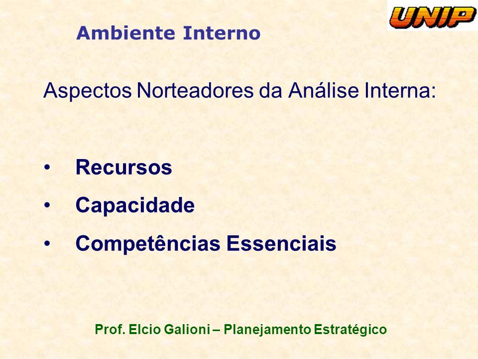 Prof. Elcio Galioni – Planejamento Estratégico Ambiente Interno Aspectos Norteadores da Análise Interna: Recursos Capacidade Competências Essenciais