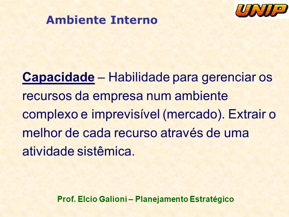 Prof. Elcio Galioni – Planejamento Estratégico Ambiente Interno Capacidade – Habilidade para gerenciar os recursos da empresa num ambiente complexo e