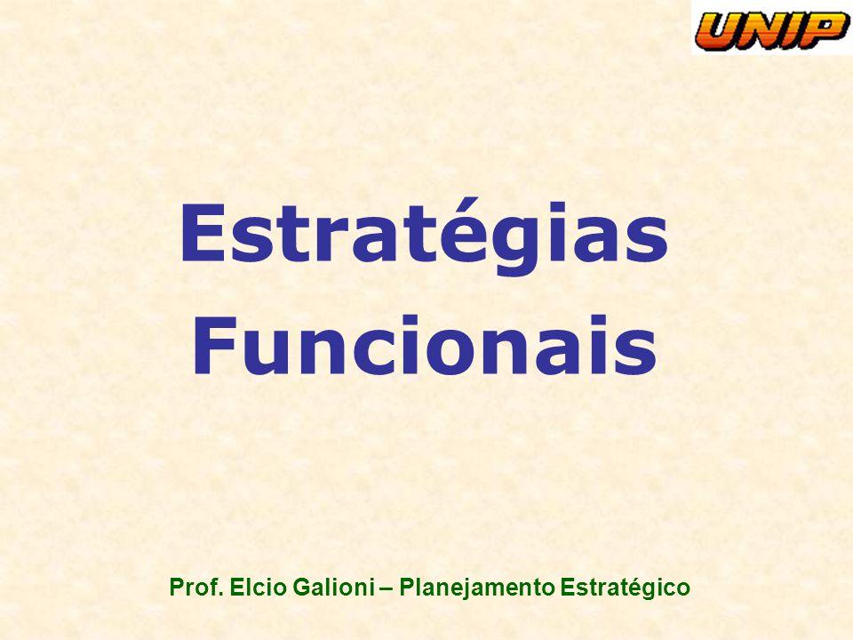 Prof. Elcio Galioni – Planejamento Estratégico Estratégias Funcionais