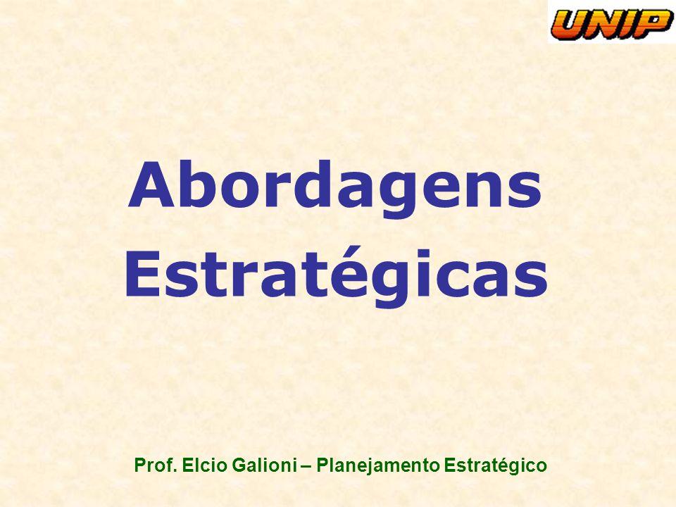 Prof. Elcio Galioni – Planejamento Estratégico Abordagens Estratégicas Gestão de Marketing