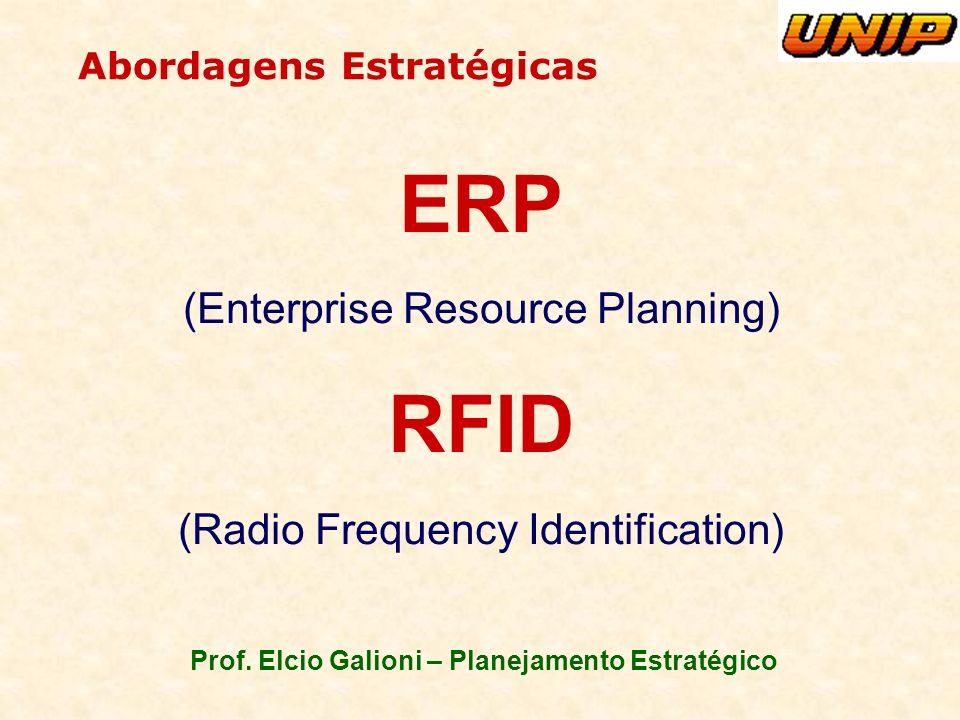 Prof. Elcio Galioni – Planejamento Estratégico ERP (Enterprise Resource Planning) RFID (Radio Frequency Identification) Abordagens Estratégicas