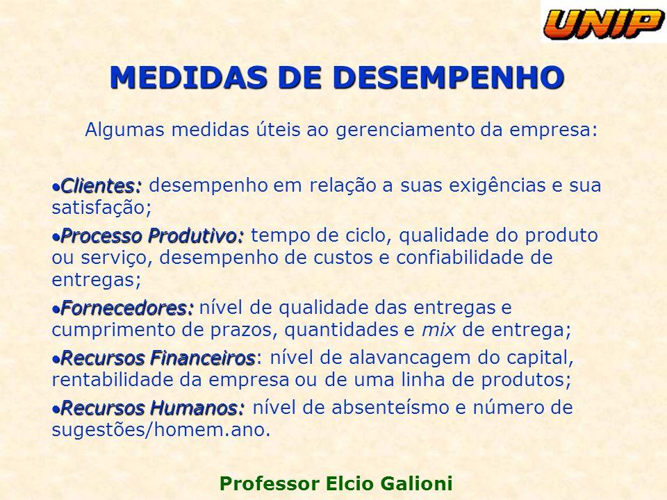 Professor Elcio Galioni Algumas medidas úteis ao gerenciamento da empresa: Clientes:Clientes: desempenho em relação a suas exigências e sua satisfação