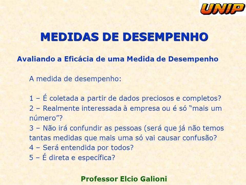 Professor Elcio Galioni Avaliando a Eficácia de uma Medida de Desempenho A medida de desempenho: 1 – É coletada a partir de dados preciosos e completo