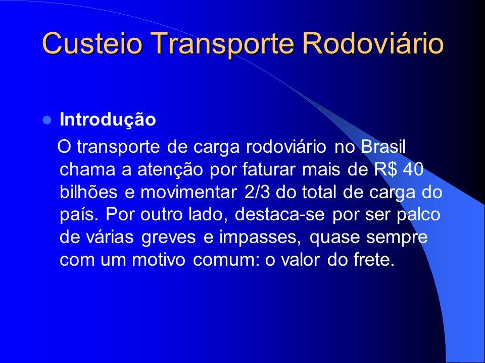 Transporte Rodoviário Dados Brasil 350 mil transportadores autônimos 12 mil empresas transportadoras 50 mil transportadoras frota própria