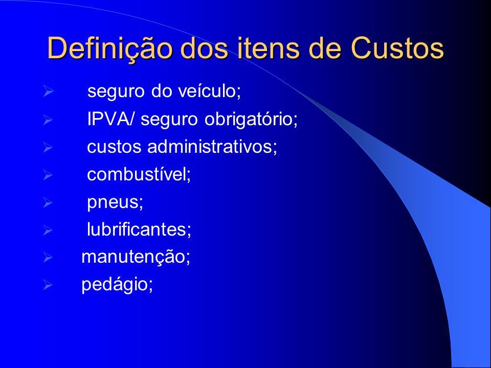 Classificação em Fixos e Variáveis Fixos: depreciação; remuneração do capital; pessoal (motorista); custos administrativos; seguro do veículo; IPVA/ seguro obrigatório.