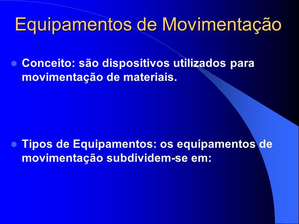 Equipamentos de Movimentação a) Veículos Industriais Veículos motorizados ou não, empregados para mover cargas mistas ou uniformes, em caminhos variados com superfície adequada, onde as funções principais são manobrar e movimentar.