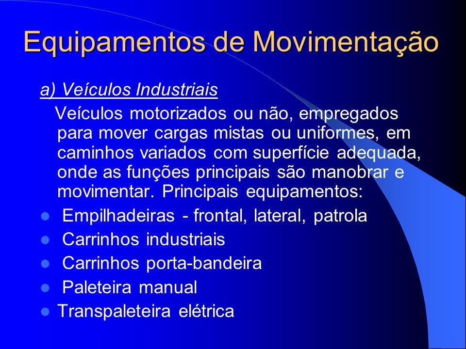 Equipamentos de Movimentação b) Equipamentos de Elevação e Transporte Dispositivos aéreos utilizados para movimentar cargas variam, intermitente, entre dois pontos, dentro de uma área limitada, onde a função principal é transferir.
