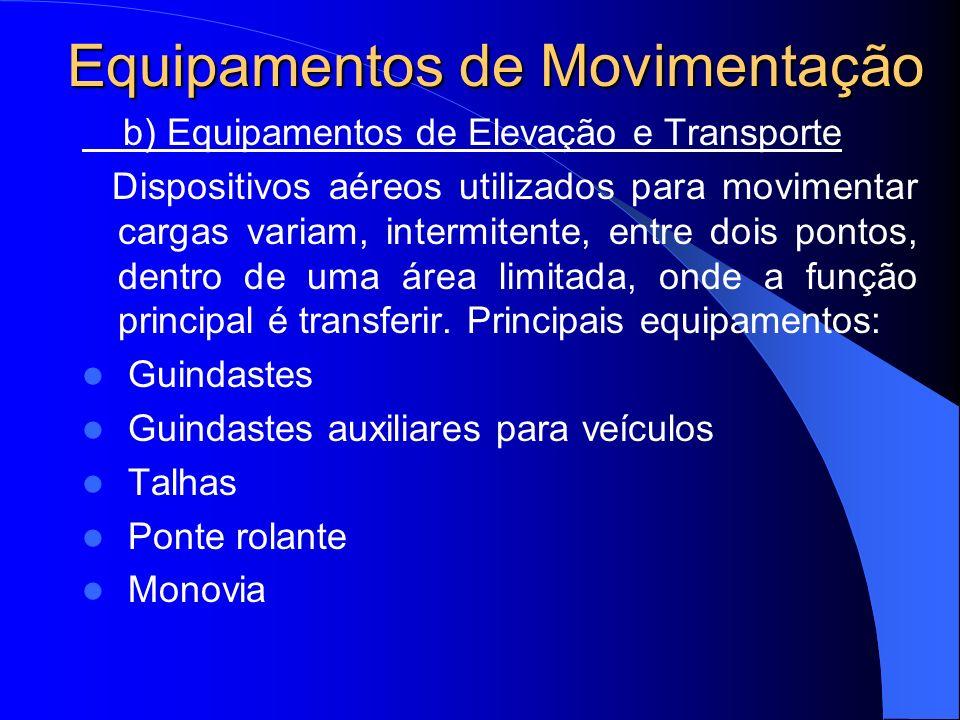 Equipamentos de Movimentação c) Transportadores Contínuos Dispositivos motorizados ou transportadores por meio da gravidade, instalados em rotas fixas e de movimento contínuo, onde a função principal é transportar.