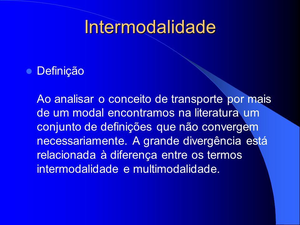 Intermodalidade Histórico Conceitos Fase 1 - Movimentação caracterizada apenas pelo uso de mais de um modal.
