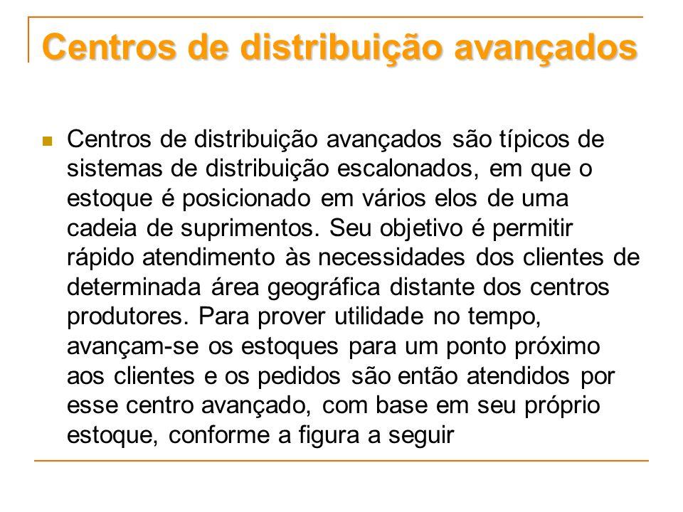 Centros de distribuição avançados Centros de distribuição avançados são típicos de sistemas de distribuição escalonados, em que o estoque é posicionad