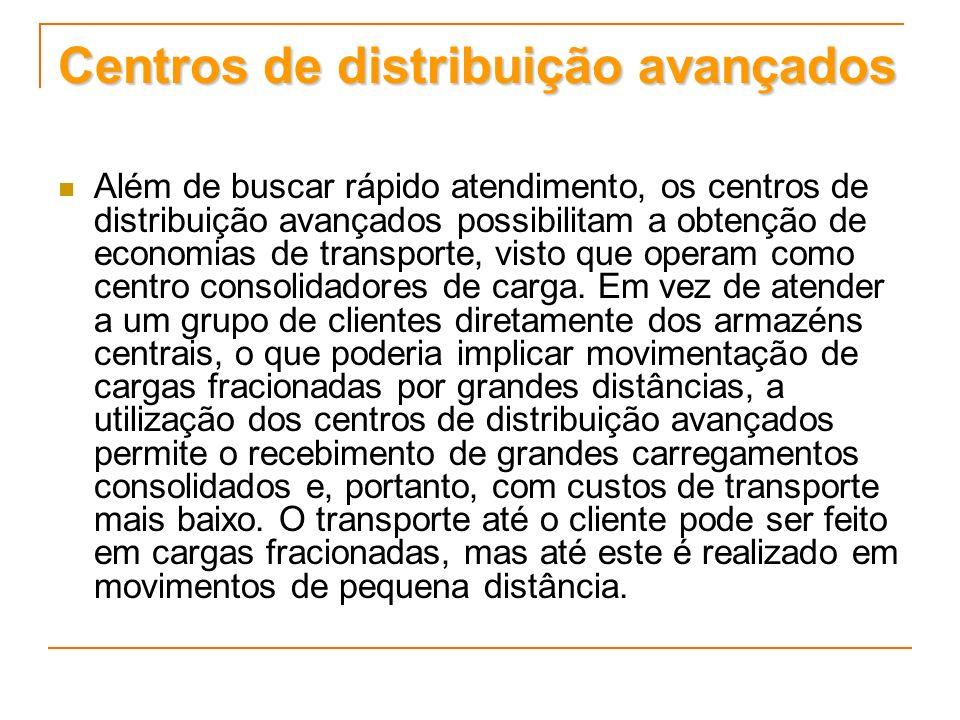 Centros de distribuição avançados Além de buscar rápido atendimento, os centros de distribuição avançados possibilitam a obtenção de economias de tran