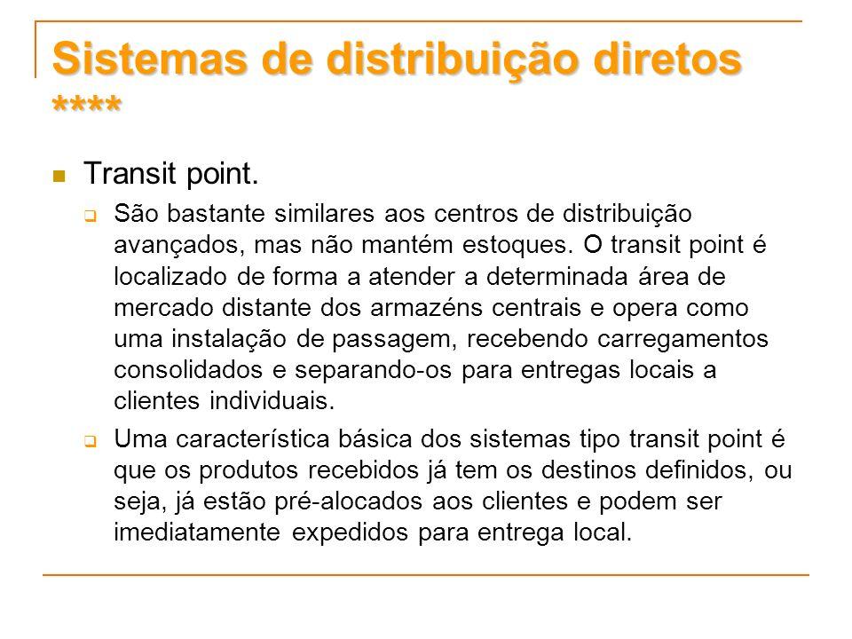Sistemas de distribuição diretos **** Transit point. São bastante similares aos centros de distribuição avançados, mas não mantém estoques. O transit