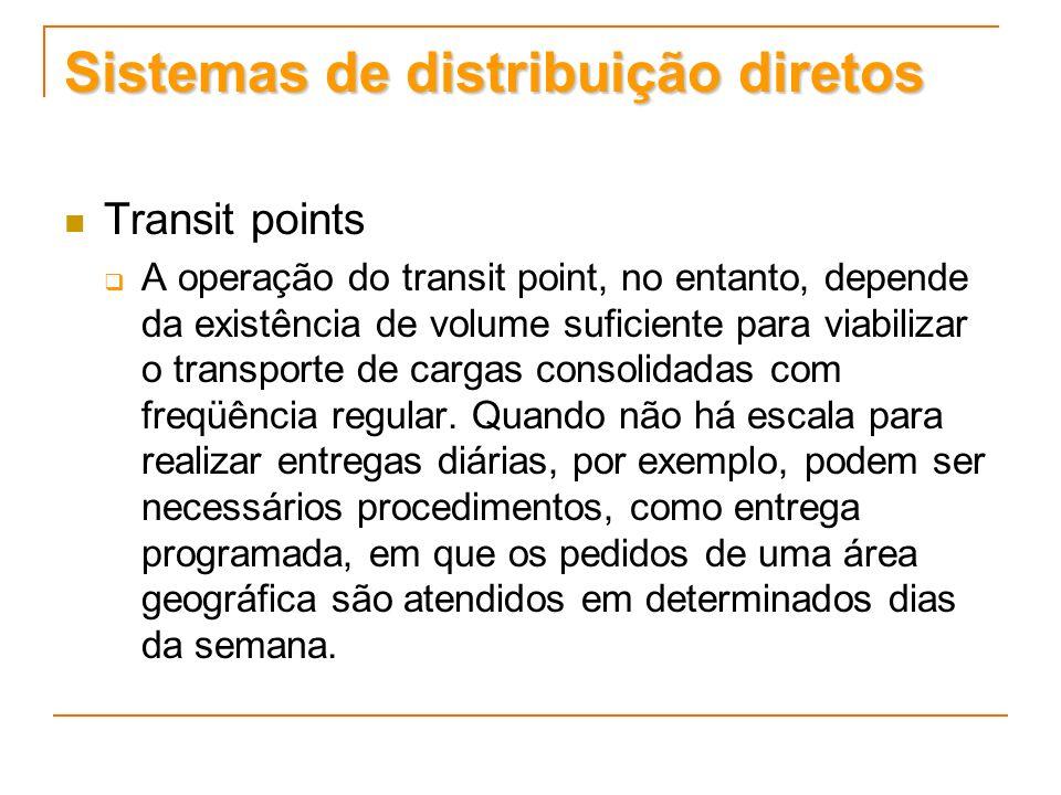 Sistemas de distribuição diretos Transit points A operação do transit point, no entanto, depende da existência de volume suficiente para viabilizar o