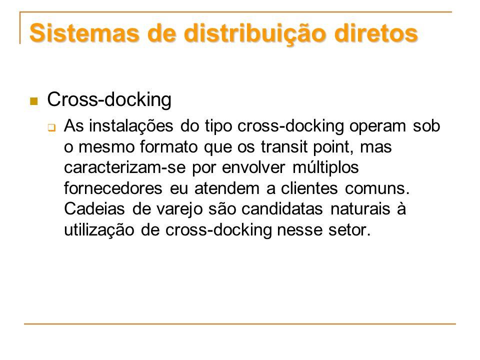 Sistemas de distribuição diretos Cross-docking As instalações do tipo cross-docking operam sob o mesmo formato que os transit point, mas caracterizam-