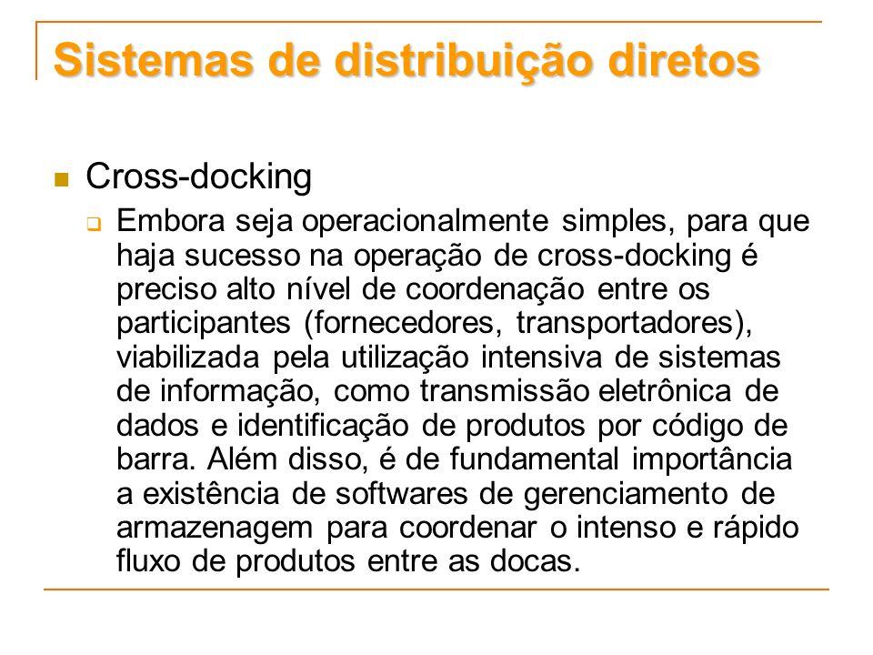 Sistemas de distribuição diretos Cross-docking Embora seja operacionalmente simples, para que haja sucesso na operação de cross-docking é preciso alto