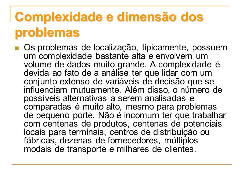 Complexidade e dimensão dos problemas Os problemas de localização, tipicamente, possuem um complexidade bastante alta e envolvem um volume de dados mu