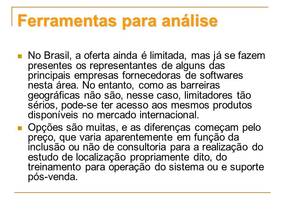 Ferramentas para análise No Brasil, a oferta ainda é limitada, mas já se fazem presentes os representantes de alguns das principais empresas fornecedo