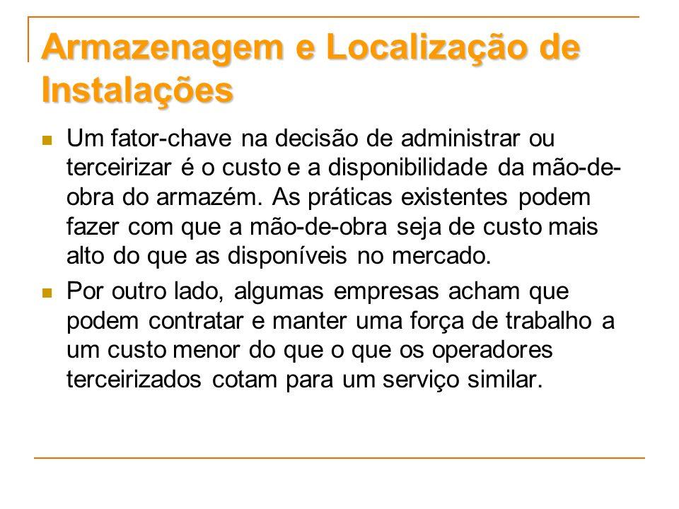 Armazenagem e Localização de Instalações A causa mais freqüente para uma decisão de utilizar armazenagem terceirizada é a necessidade de flexibilidade.