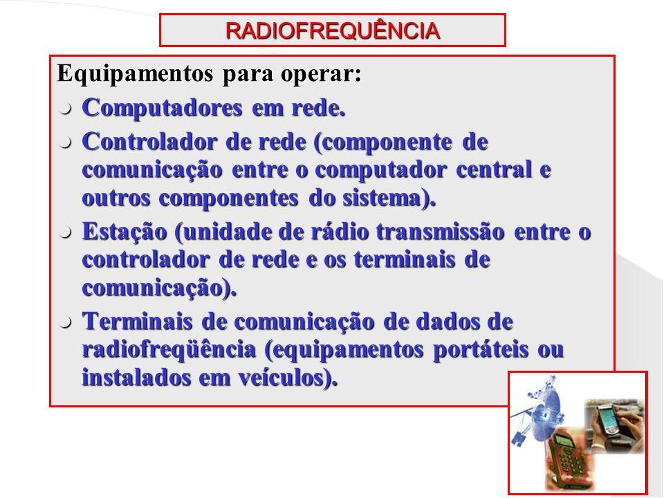 RADIOFREQUÊNCIA Equipamentos para operar: Computadores em rede. Computadores em rede. Controlador de rede (componente de comunicação entre o computado