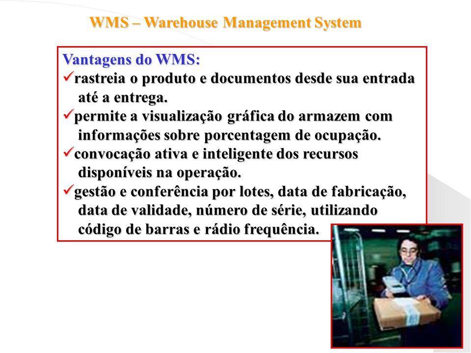 WMS – Warehouse Management System Vantagens do WMS: rastreia o produto e documentos desde sua entrada rastreia o produto e documentos desde sua entrad
