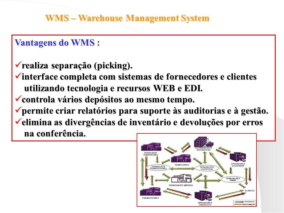 WMS – Warehouse Management System Vantagens do WMS : realiza separação (picking). realiza separação (picking). interface completa com sistemas de forn