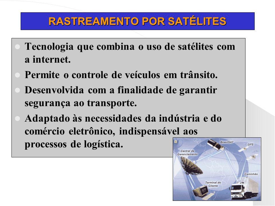 RASTREAMENTO POR SATÉLITES Tecnologia que combina o uso de satélites com a internet. Permite o controle de veículos em trânsito. Desenvolvida com a fi